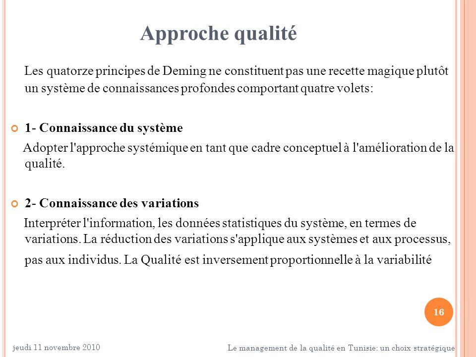 16 Approche qualité Les quatorze principes de Deming ne constituent pas une recette magique plutôt un système de connaissances profondes comportant qu