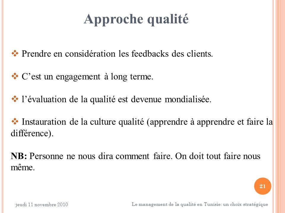 21 Approche qualité Prendre en considération les feedbacks des clients. Cest un engagement à long terme. lévaluation de la qualité est devenue mondial