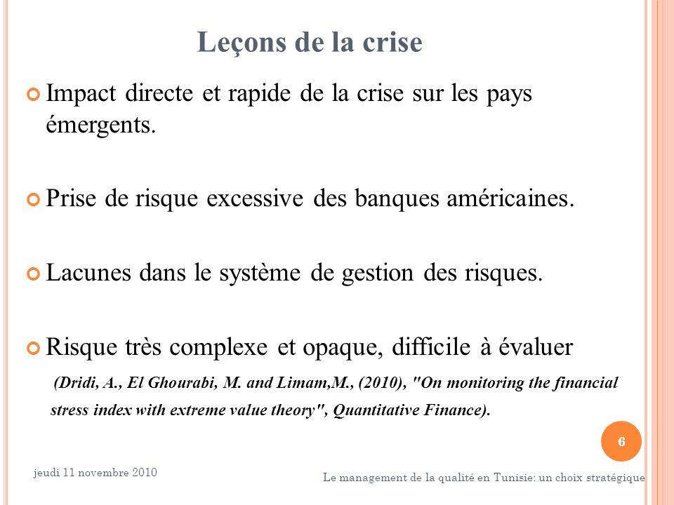 6 Leçons de la crise Impact directe et rapide de la crise sur les pays émergents. Prise de risque excessive des banques américaines. Lacunes dans le s