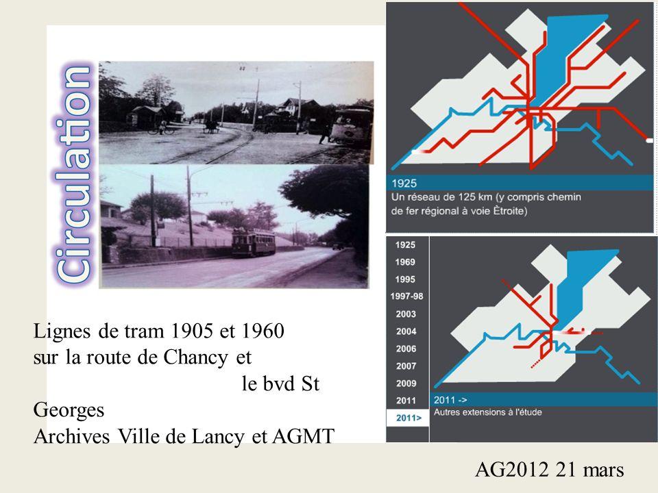 Lignes de tram 1905 et 1960 sur la route de Chancy et le bvd St Georges Archives Ville de Lancy et AGMT AG2012 21 mars