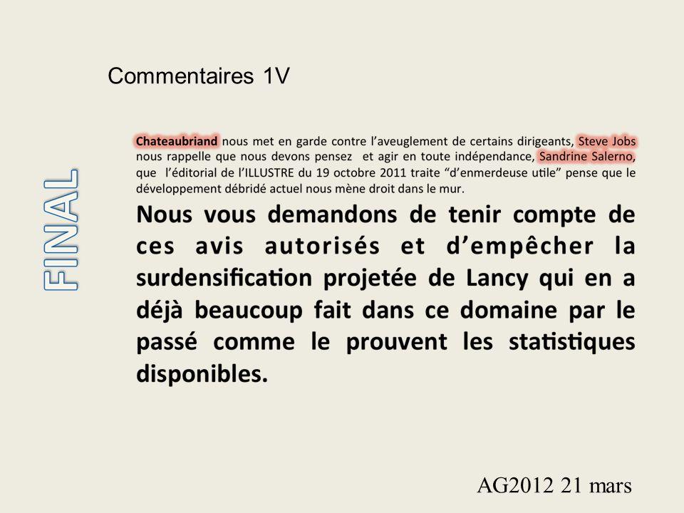 Commentaires 1V AG2012 21 mars