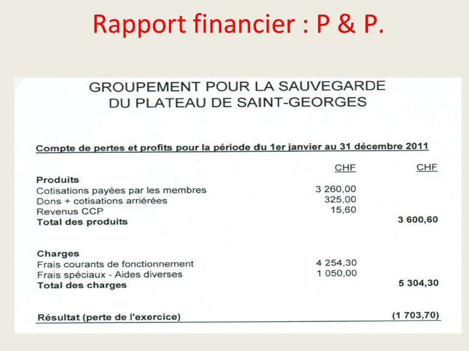 Rapport financier : P & P.