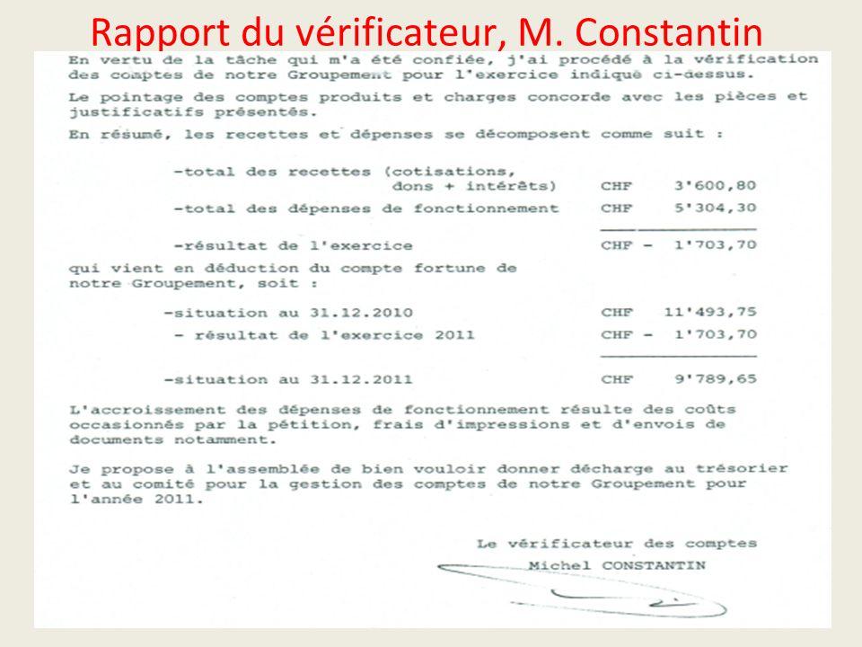 Rapport du vérificateur, M. Constantin