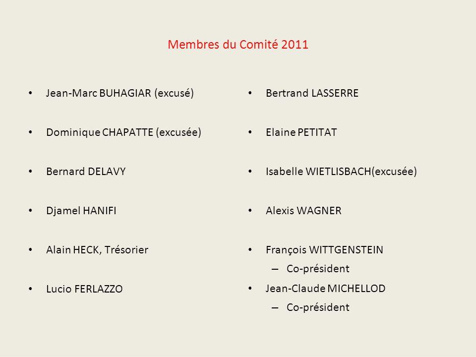 Membres du Comité 2011 Jean-Marc BUHAGIAR (excusé) Dominique CHAPATTE (excusée) Bernard DELAVY Djamel HANIFI Alain HECK, Trésorier Lucio FERLAZZO Bert
