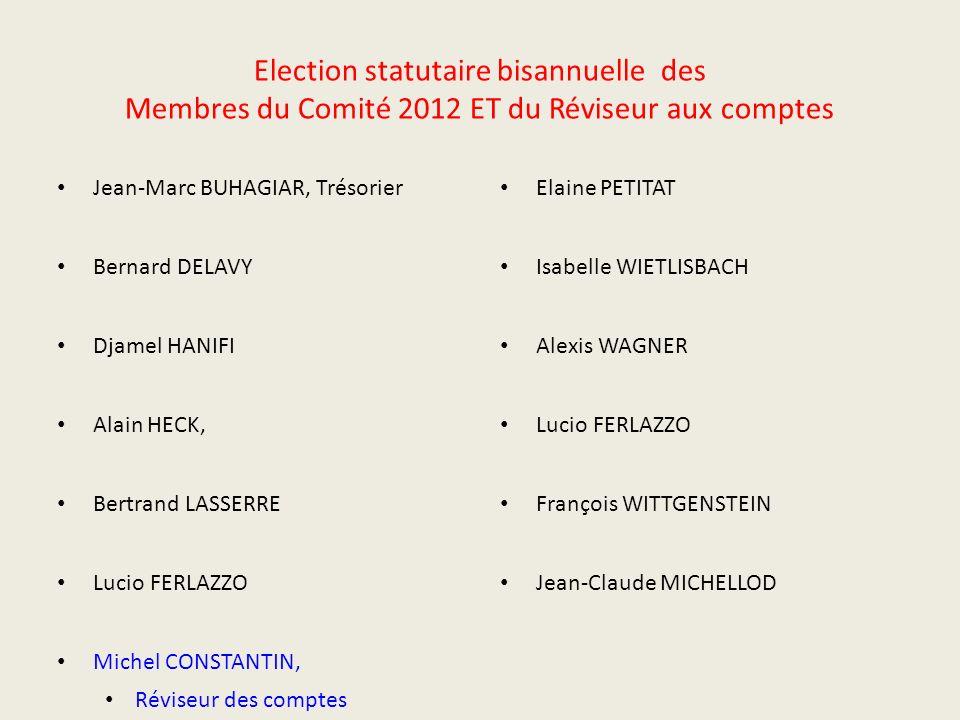 Election statutaire bisannuelle des Membres du Comité 2012 ET du Réviseur aux comptes Jean-Marc BUHAGIAR, Trésorier Bernard DELAVY Djamel HANIFI Alain