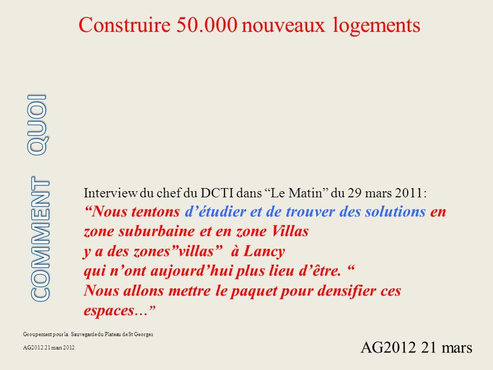 Groupement pour la Sauvegarde du Plateau de St Georges AG2012 21 mars 2012 Construire 50.000 nouveaux logements Interview du chef du DCTI dans Le Mati