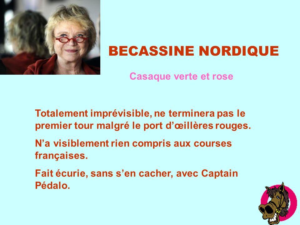 BECASSINE NORDIQUE Casaque verte et rose Totalement imprévisible, ne terminera pas le premier tour malgré le port dœillères rouges.
