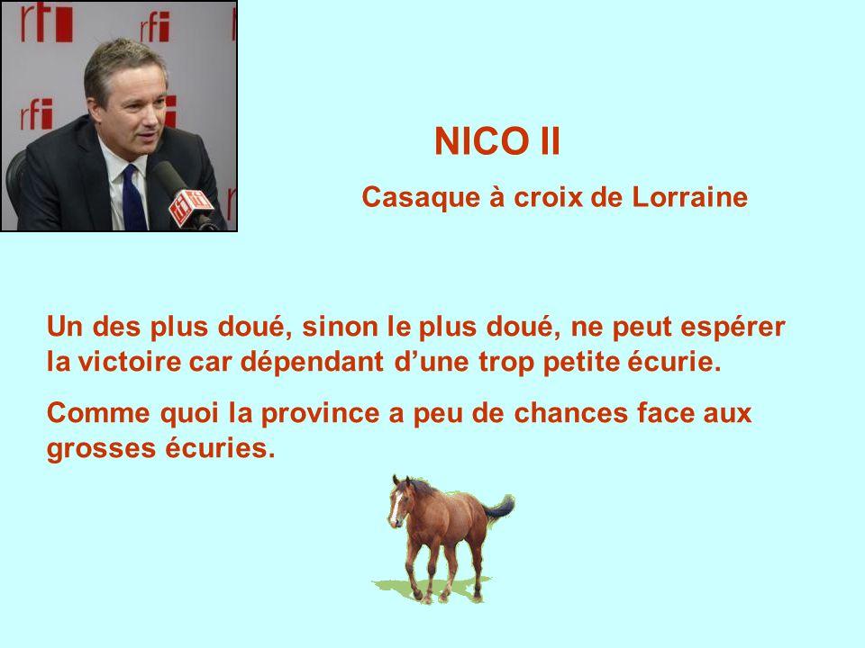 NICO II Casaque à croix de Lorraine Un des plus doué, sinon le plus doué, ne peut espérer la victoire car dépendant dune trop petite écurie.
