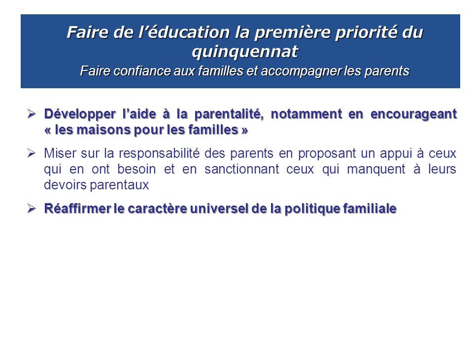 Faire de léducation la première priorité du quinquennat Faire confiance aux familles et accompagner les parents Développer laide à la parentalité, not