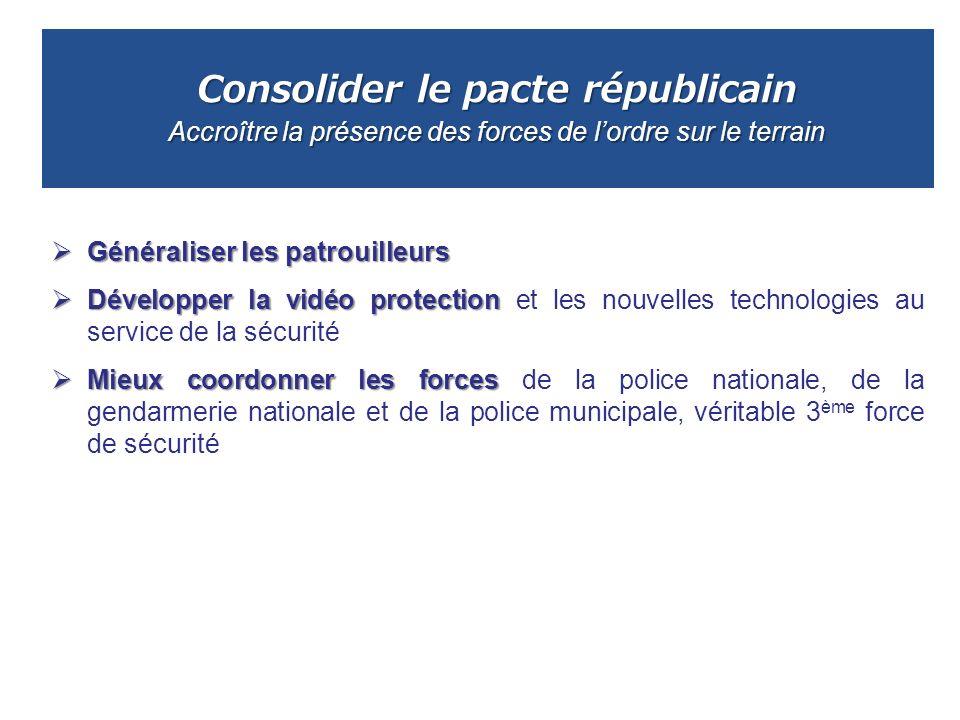 Consolider le pacte républicain Accroître la présence des forces de lordre sur le terrain Généraliser les patrouilleurs Généraliser les patrouilleurs