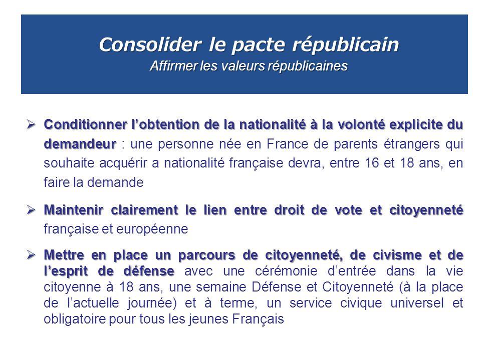 Consolider le pacte républicain Affirmer les valeurs républicaines Conditionner lobtention de la nationalité à la volonté explicite du demandeur Condi