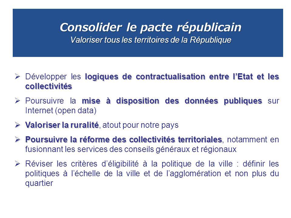Consolider le pacte républicain Valoriser tous les territoires de la République logiques de contractualisation entre lEtat et les collectivités Dévelo