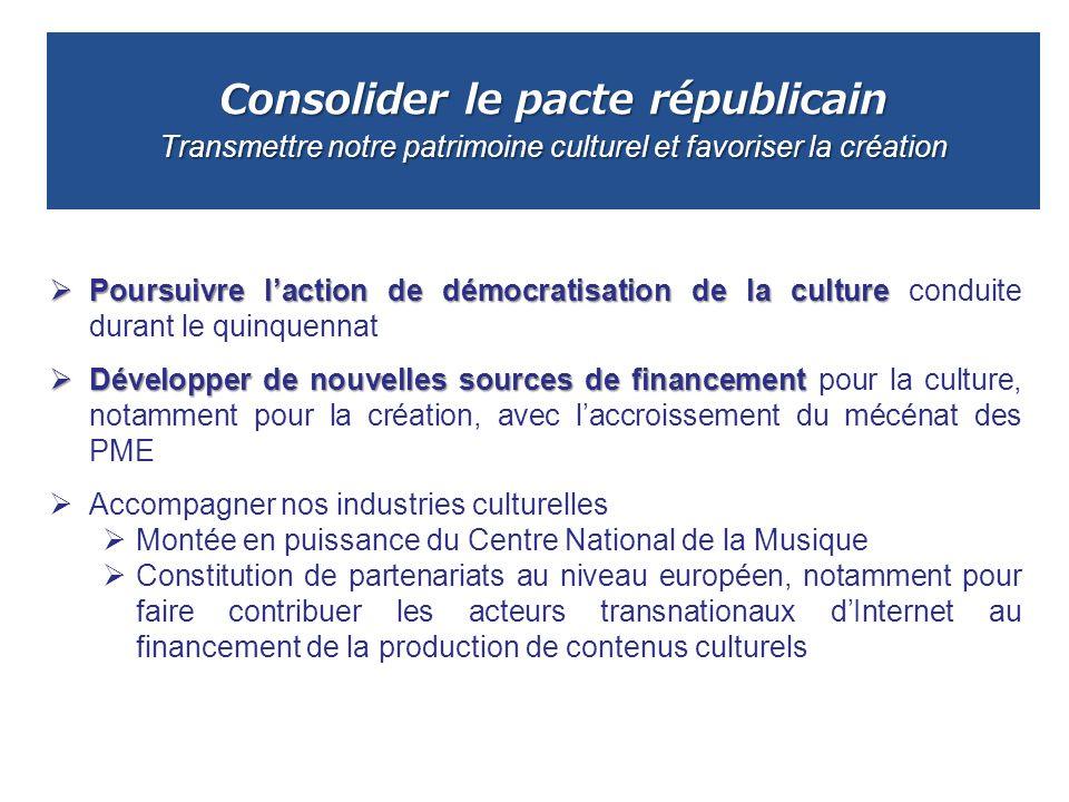 Consolider le pacte républicain Transmettre notre patrimoine culturel et favoriser la création Poursuivre laction de démocratisation de la culture Pou