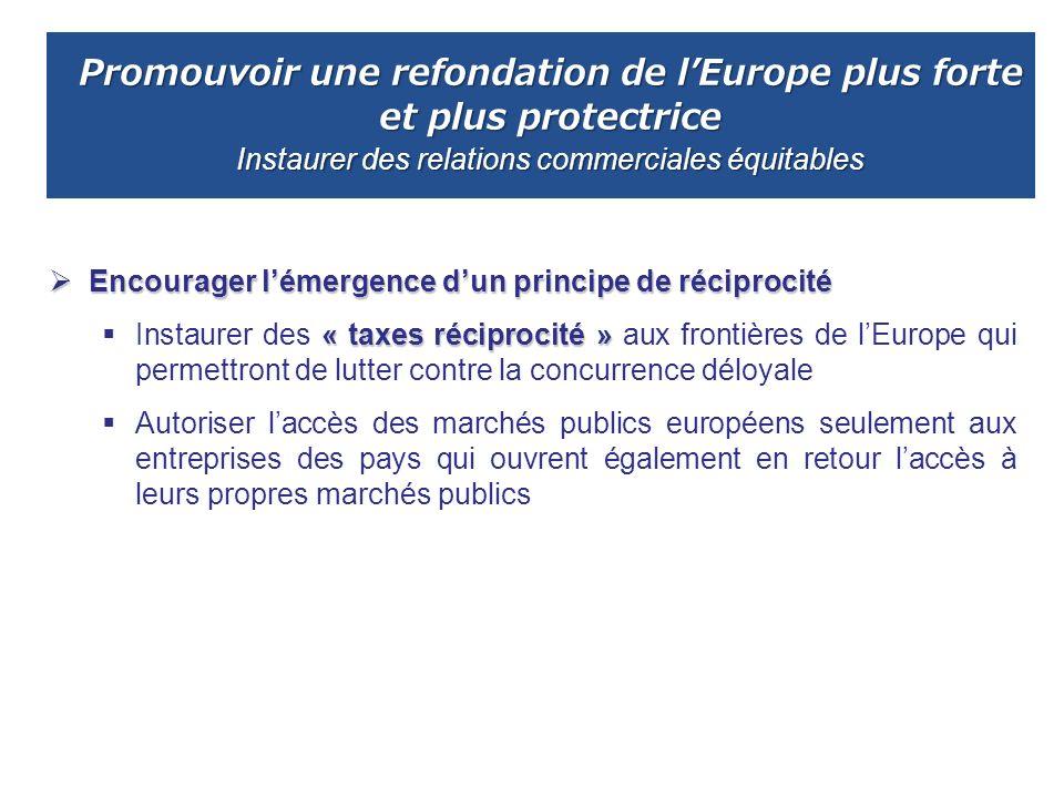 Promouvoir une refondation de lEurope plus forte et plus protectrice Instaurer des relations commerciales équitables Encourager lémergence dun princip