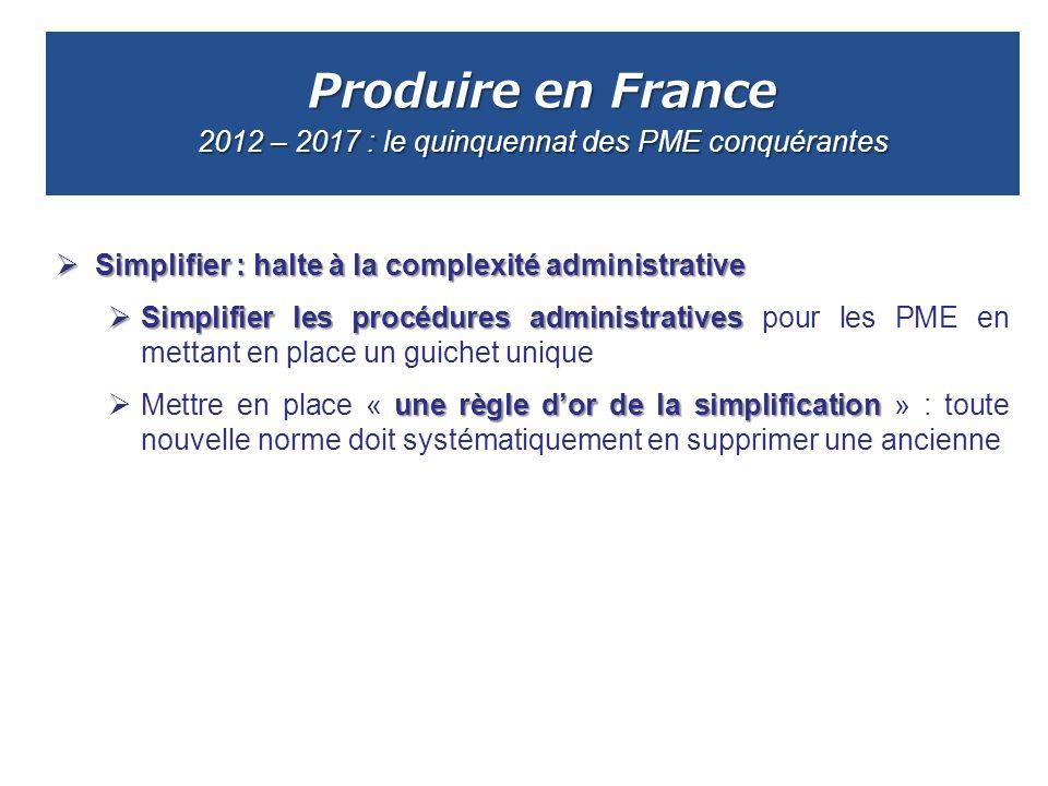 Produire en France 2012 – 2017 : le quinquennat des PME conquérantes Simplifier : halte à la complexité administrative Simplifier : halte à la complex