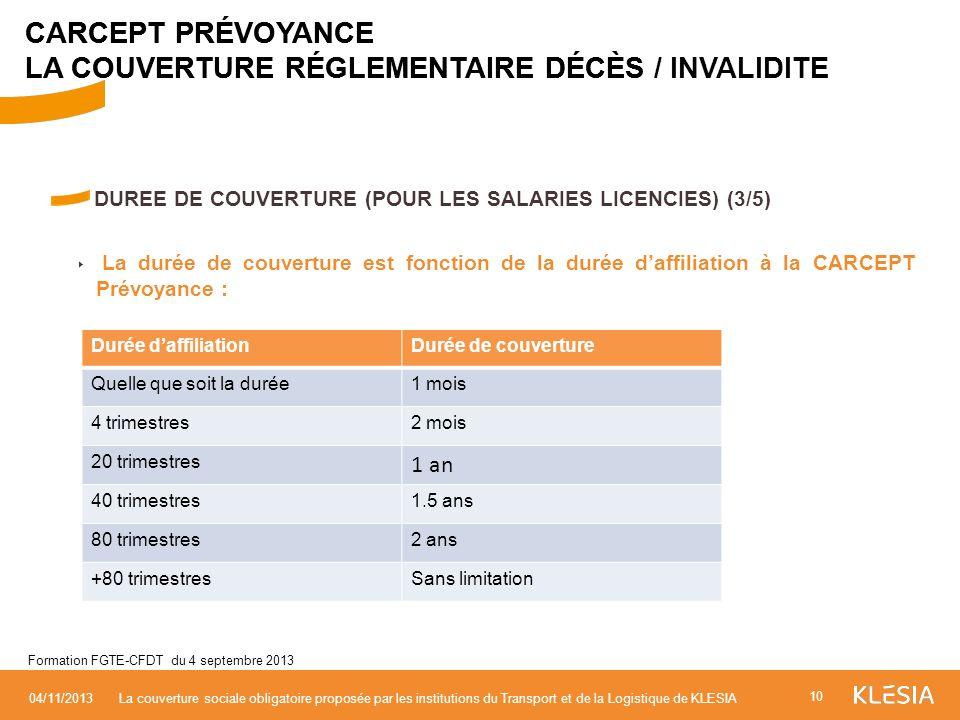 DUREE DE COUVERTURE (POUR LES SALARIES LICENCIES) (3/5) La durée de couverture est fonction de la durée daffiliation à la CARCEPT Prévoyance : 10 04/1