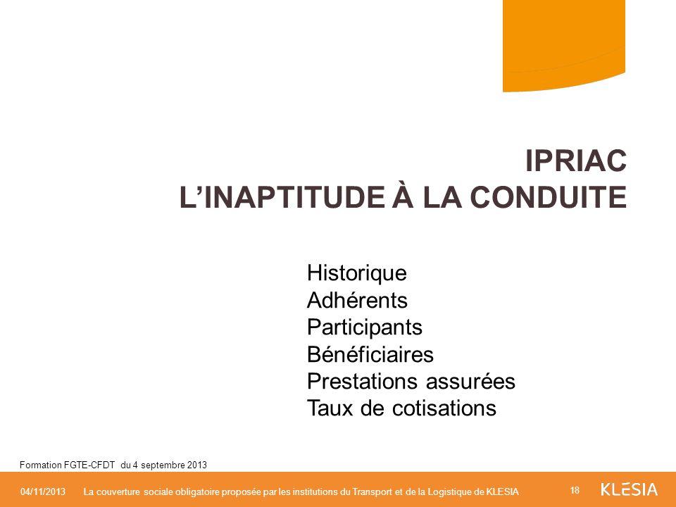 Historique Adhérents Participants Bénéficiaires Prestations assurées Taux de cotisations IPRIAC LINAPTITUDE À LA CONDUITE 18 04/11/2013La couverture s