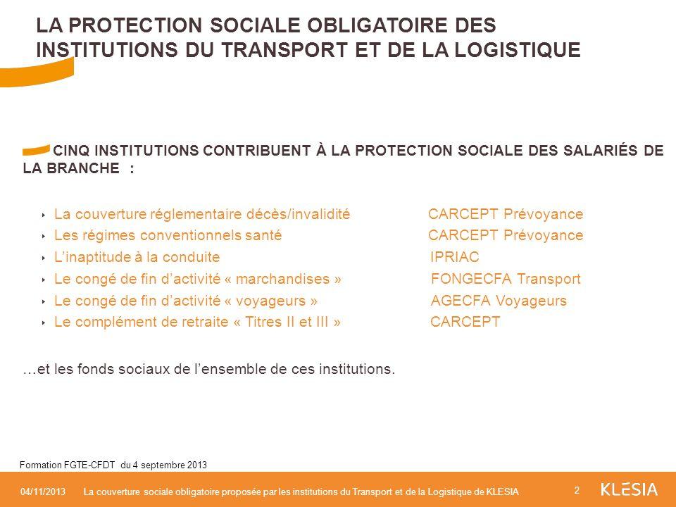 CINQ INSTITUTIONS CONTRIBUENT À LA PROTECTION SOCIALE DES SALARIÉS DE LA BRANCHE : La couverture réglementaire décès/invalidité CARCEPT Prévoyance Les