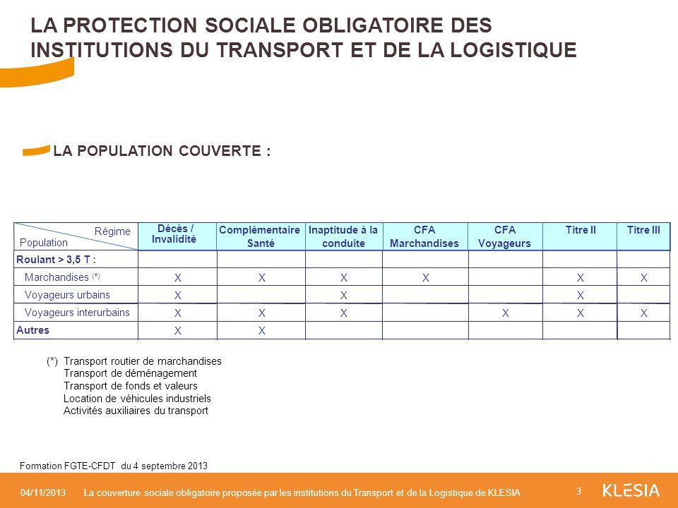LA POPULATION COUVERTE : LA PROTECTION SOCIALE OBLIGATOIRE DES INSTITUTIONS DU TRANSPORT ET DE LA LOGISTIQUE 3 04/11/2013La couverture sociale obligat