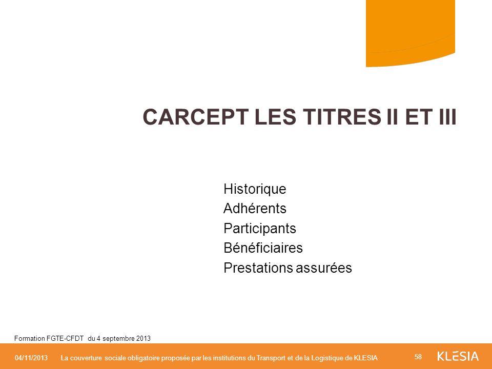 Historique Adhérents Participants Bénéficiaires Prestations assurées CARCEPT LES TITRES II ET III 58 04/11/2013La couverture sociale obligatoire propo