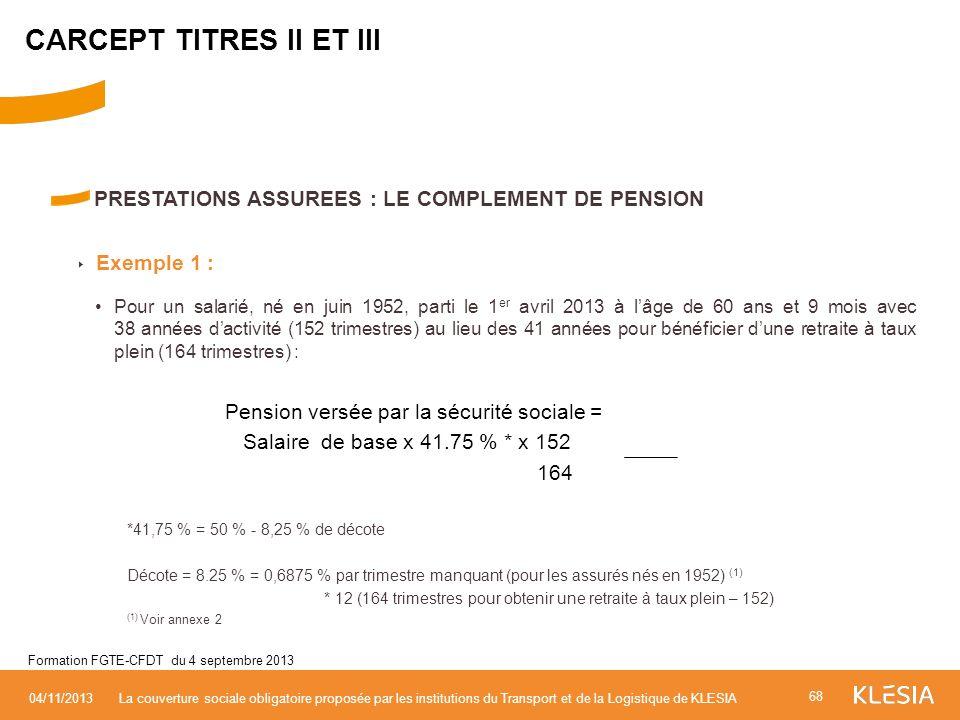 PRESTATIONS ASSUREES : LE COMPLEMENT DE PENSION Exemple 1 : Pour un salarié, né en juin 1952, parti le 1 er avril 2013 à lâge de 60 ans et 9 mois avec