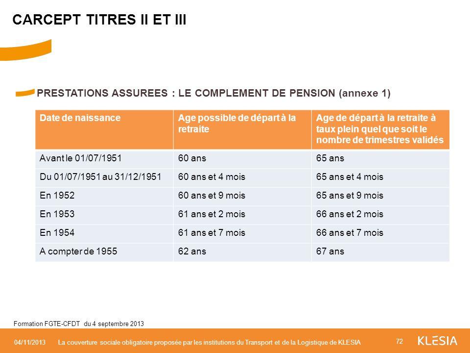 PRESTATIONS ASSUREES : LE COMPLEMENT DE PENSION (annexe 1) 72 04/11/2013La couverture sociale obligatoire proposée par les institutions du Transport e