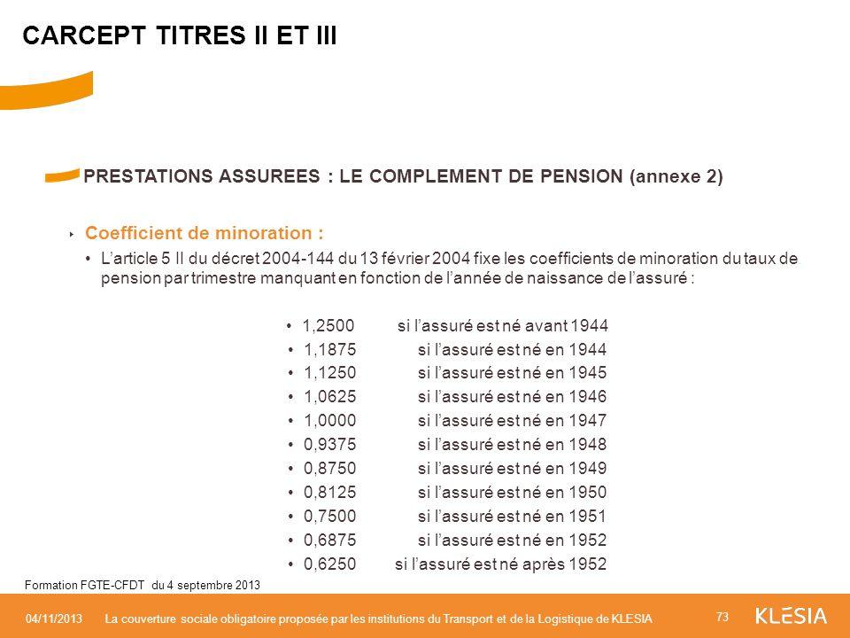 PRESTATIONS ASSUREES : LE COMPLEMENT DE PENSION (annexe 2) Coefficient de minoration : Larticle 5 II du décret 2004-144 du 13 février 2004 fixe les co
