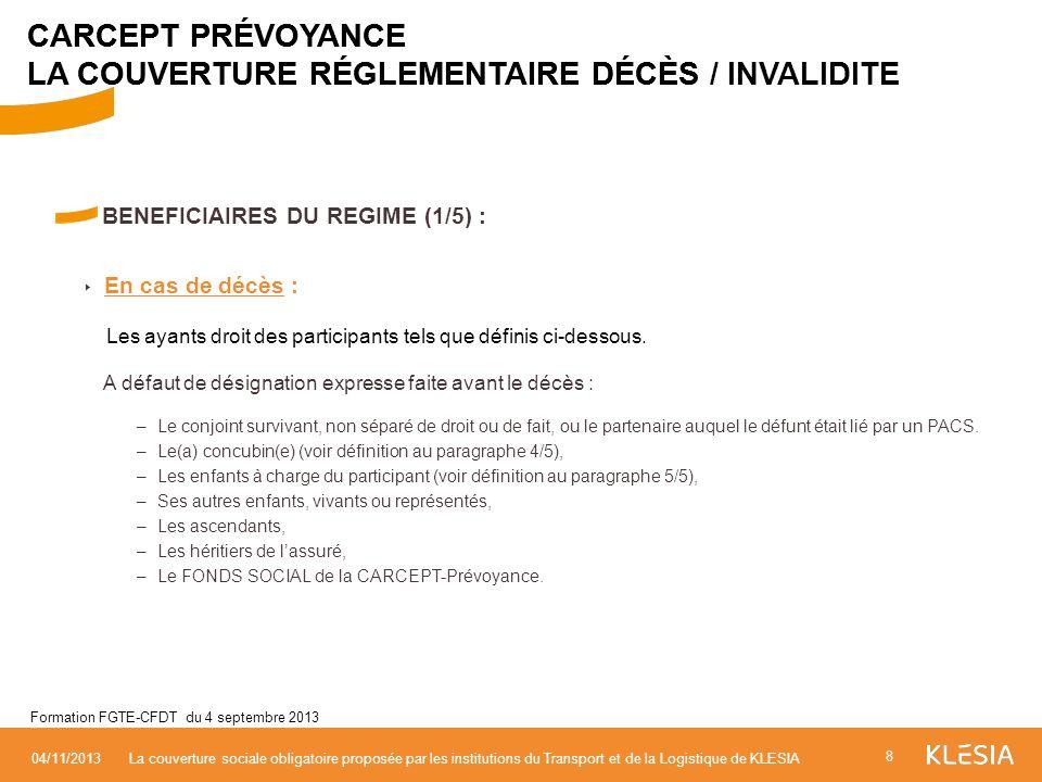 BENEFICIAIRES DU REGIME (1/5) : En cas de décès : Les ayants droit des participants tels que définis ci-dessous. A défaut de désignation expresse fait