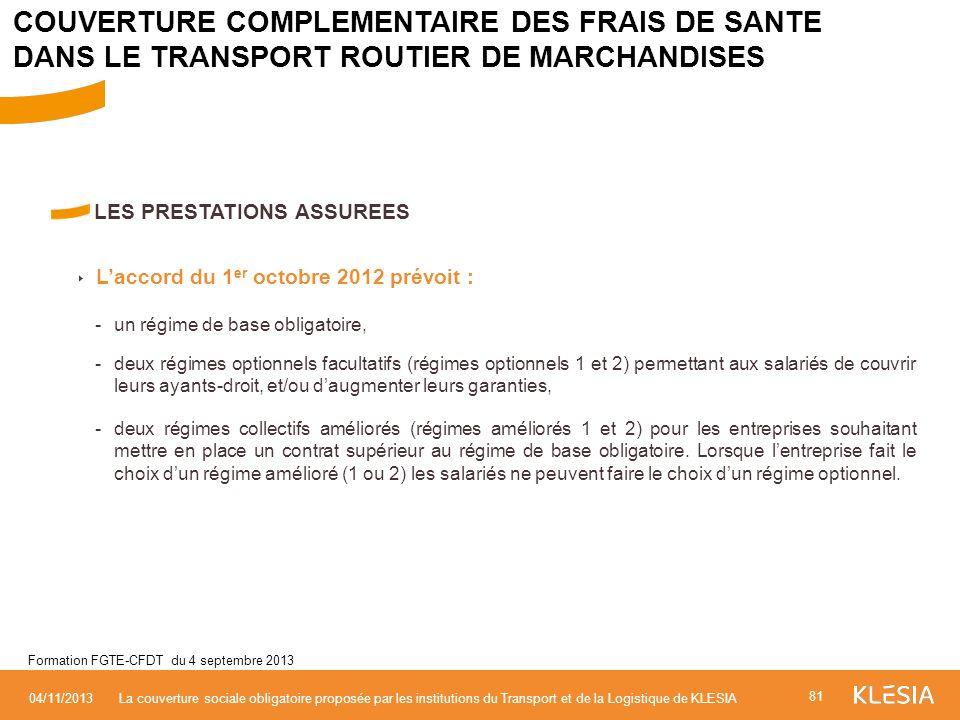 LES PRESTATIONS ASSUREES Laccord du 1 er octobre 2012 prévoit : - un régime de base obligatoire, -deux régimes optionnels facultatifs (régimes optionn