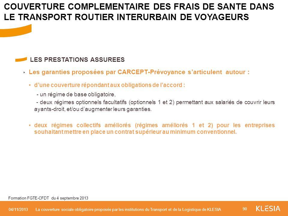 LES PRESTATIONS ASSUREES Les garanties proposées par CARCEPT-Prévoyance sarticulent autour : dune couverture répondant aux obligations de laccord : -