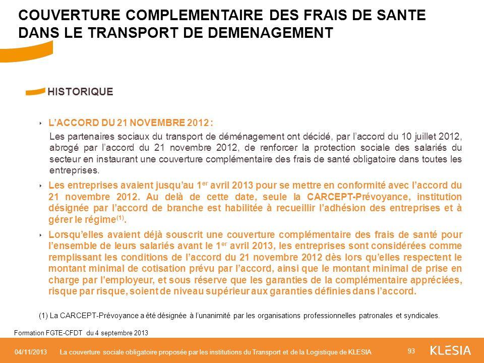 HISTORIQUE LACCORD DU 21 NOVEMBRE 2012 : Les partenaires sociaux du transport de déménagement ont décidé, par laccord du 10 juillet 2012, abrogé par l