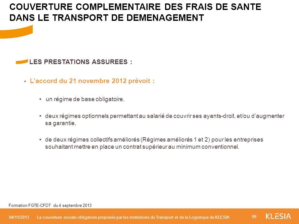 LES PRESTATIONS ASSUREES : Laccord du 21 novembre 2012 prévoit : un régime de base obligatoire, deux régimes optionnels permettant au salarié de couvr