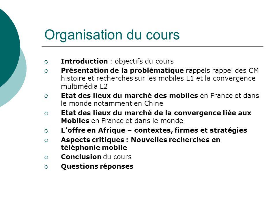 Organisation du cours Introduction : objectifs du cours Présentation de la problématique rappels rappel des CM histoire et recherches sur les mobiles