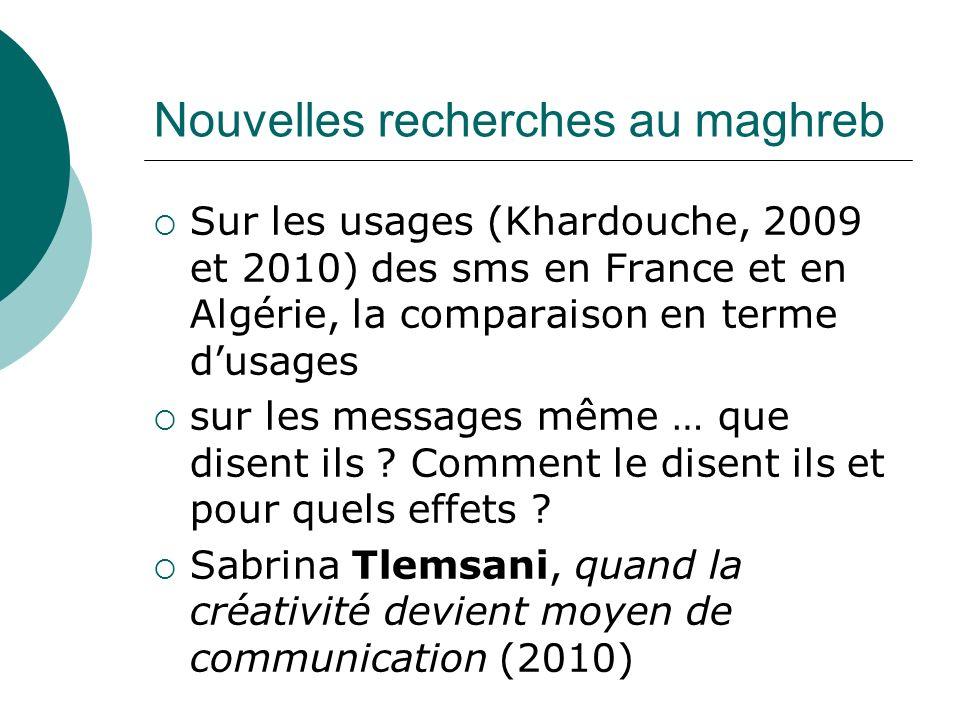 Nouvelles recherches au maghreb Sur les usages (Khardouche, 2009 et 2010) des sms en France et en Algérie, la comparaison en terme dusages sur les mes