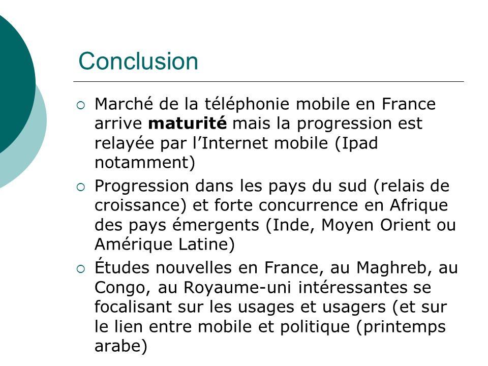 Conclusion Marché de la téléphonie mobile en France arrive maturité mais la progression est relayée par lInternet mobile (Ipad notamment) Progression