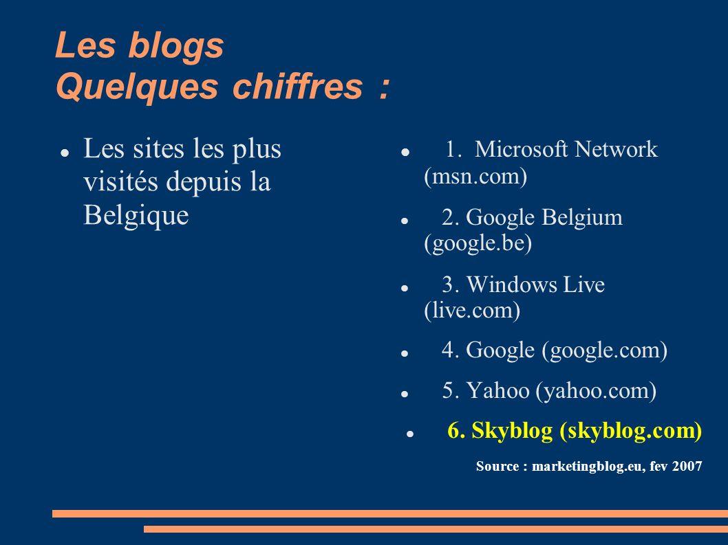 Les blogs Quelques chiffres : 1. Microsoft Network (msn.com) 2.