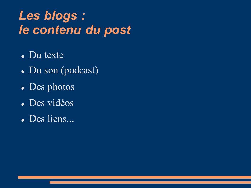 Les blogs : le contenu du post Du texte Du son (podcast) Des photos Des vidéos Des liens...