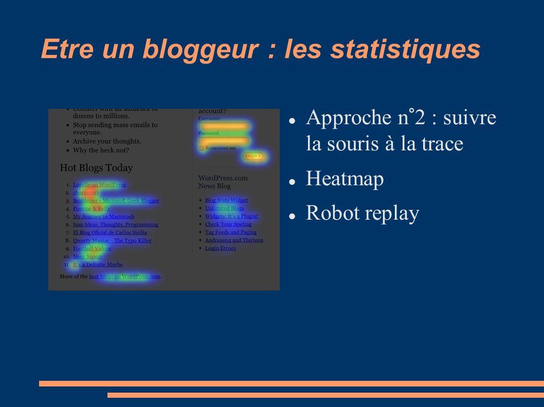 Etre un bloggeur : les statistiques Approche n°2 : suivre la souris à la trace Heatmap Robot replay