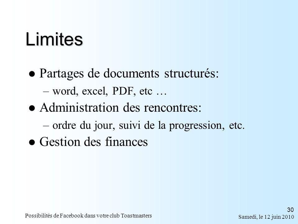 Samedi, le 12 juin 2010 Possibilités de Facebook dans votre club Toastmasters 30 Limites Partages de documents structurés: –word, excel, PDF, etc … Administration des rencontres: –ordre du jour, suivi de la progression, etc.