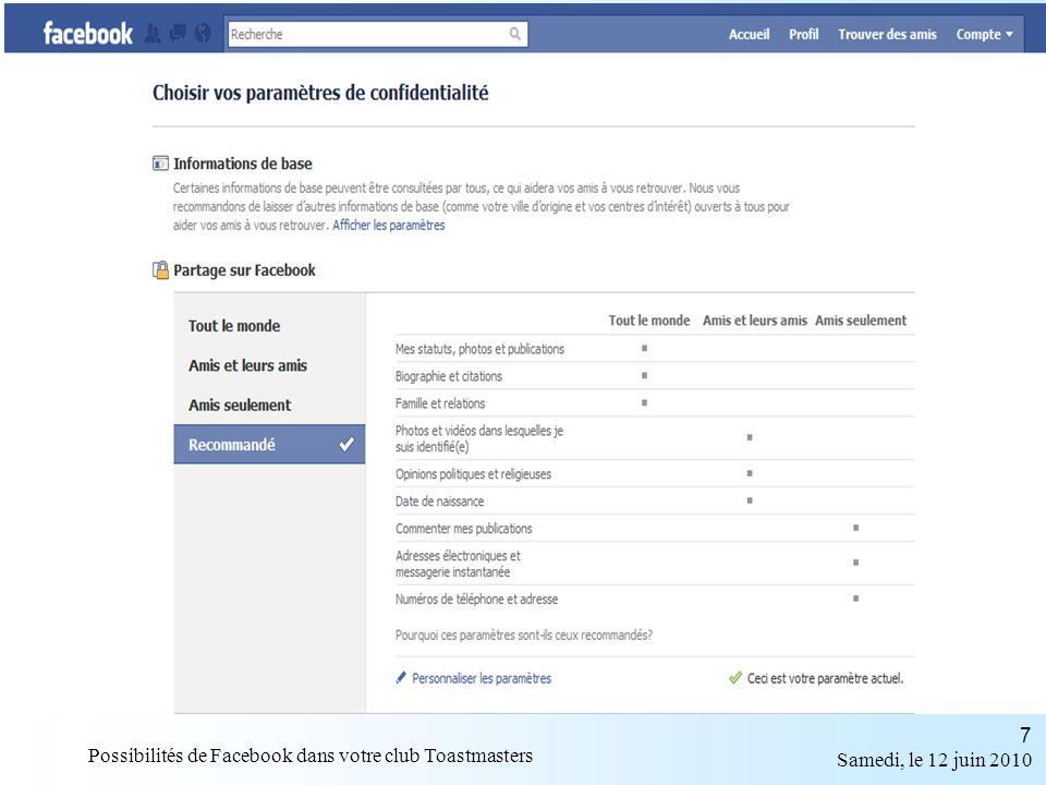 Samedi, le 12 juin 2010 Possibilités de Facebook dans votre club Toastmasters 18