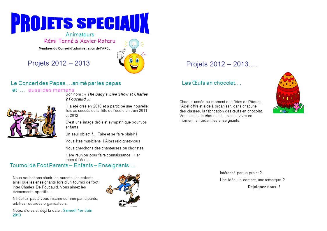 Le Concert des Papas….animé par les papas et … aussi des mamans Projets 2012 – 2013 Animateurs Rémi Tanné & Xavier Rotaru Projets 2012 – 2013…. Intére