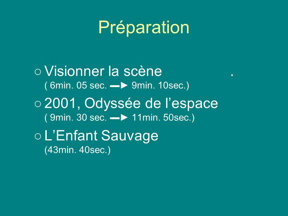Préparation Visionner la scène. ( 6min. 05 sec. 9min. 10sec.) 2001, Odyssée de lespace ( 9min. 30 sec. 11min. 50sec.) LEnfant Sauvage (43min. 40sec.)