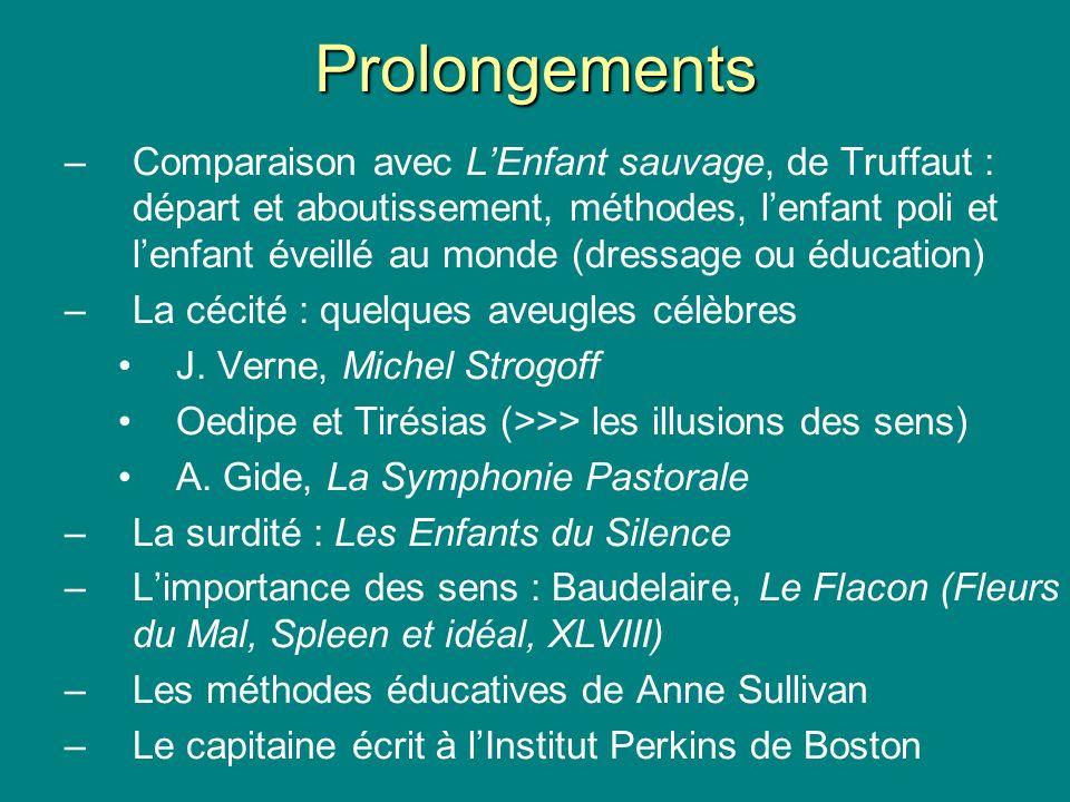 Prolongements –Comparaison avec LEnfant sauvage, de Truffaut : départ et aboutissement, méthodes, lenfant poli et lenfant éveillé au monde (dressage o