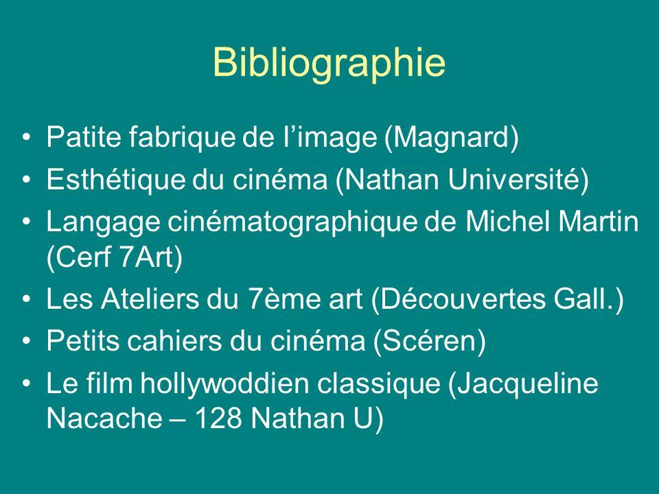 Bibliographie Patite fabrique de limage (Magnard) Esthétique du cinéma (Nathan Université) Langage cinématographique de Michel Martin (Cerf 7Art) Les