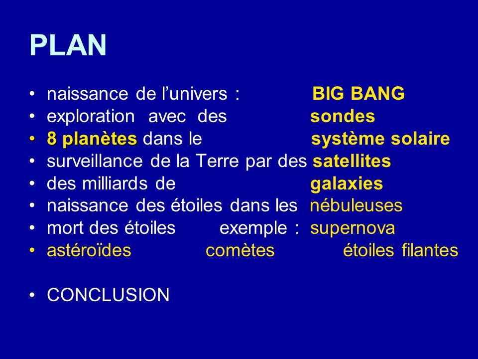 PLAN naissance de lunivers : BIG BANG exploration avec des sondes 8 planètes8 planètes dans le système solaire surveillance de la Terre par des satell