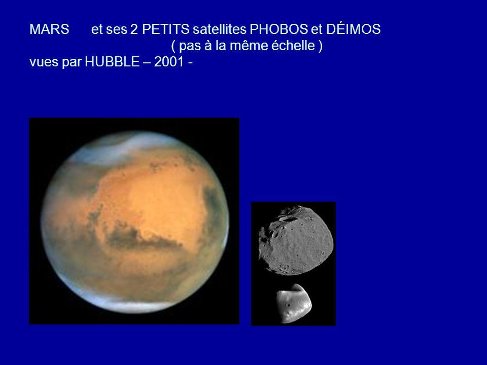 MARS et ses 2 PETITS satellites PHOBOS et DÉIMOS ( pas à la même échelle ) vues par HUBBLE – 2001 -