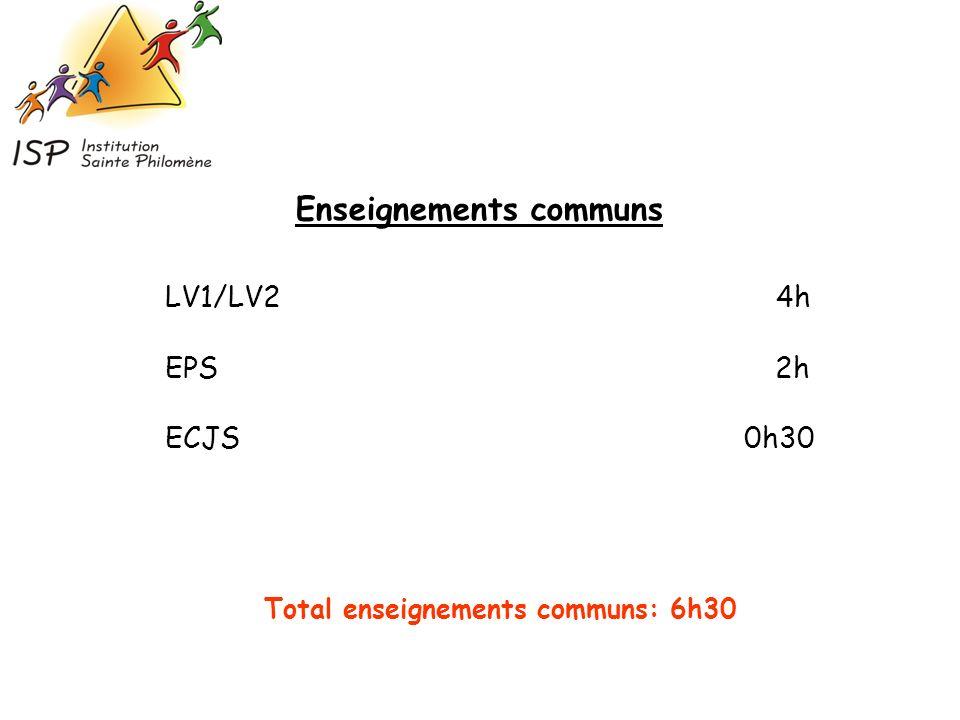 LV1/LV2 4h EPS 2h ECJS 0h30 Enseignements communs Total enseignements communs: 6h30