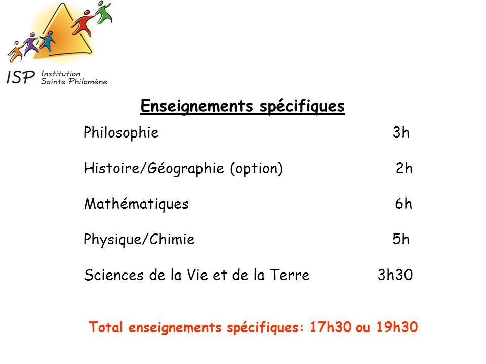 Philosophie 3h Histoire/Géographie (option) 2h Mathématiques 6h Physique/Chimie 5h Sciences de la Vie et de la Terre 3h30 Enseignements spécifiques To