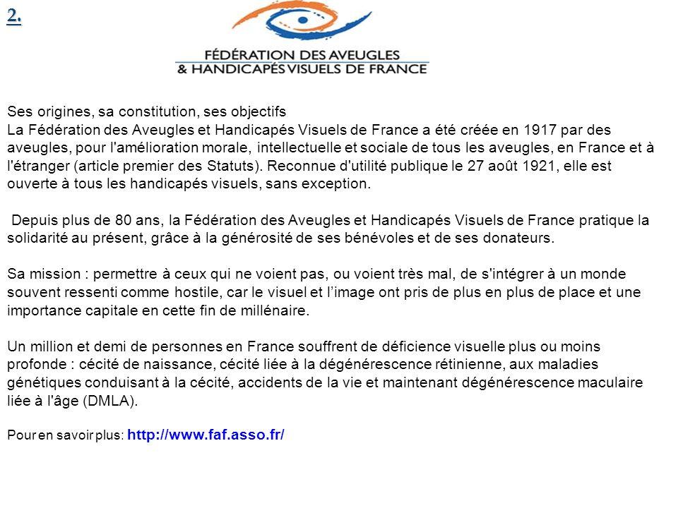 2. Ses origines, sa constitution, ses objectifs La Fédération des Aveugles et Handicapés Visuels de France a été créée en 1917 par des aveugles, pour