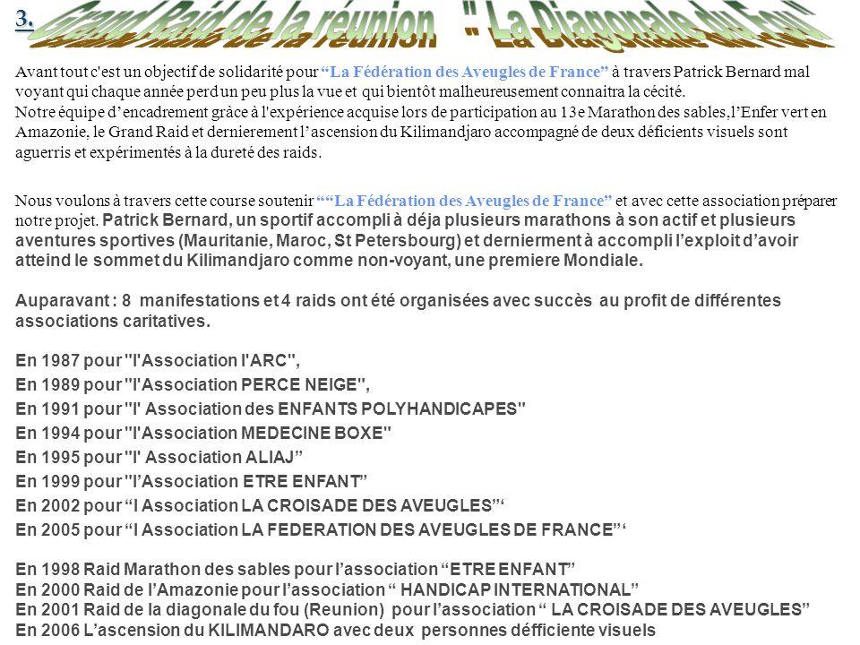 3. Avant tout c'est un objectif de solidarité pour La Fédération des Aveugles de France à travers Patrick Bernard mal voyant qui chaque année perd un